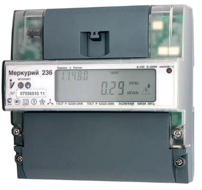 Электросчетчик Меркурий 236 АRТ-01 PQL 5(60)А/400В трехфазный, многотарифный, PLC-модем, фото 2